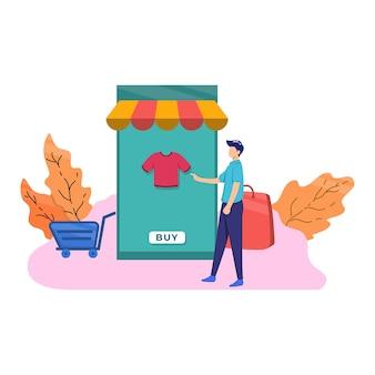 Compras on-line, compra, comércio, homem, varejo