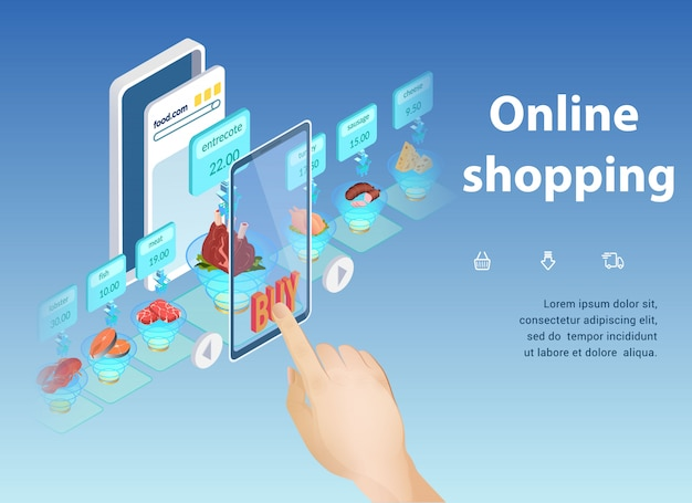Compras on-line, comprando a melhor aplicação de alimentos.