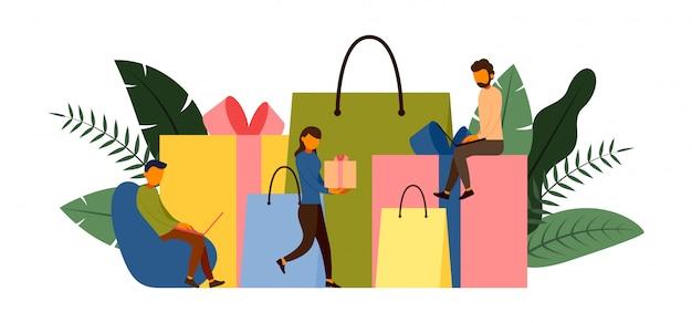 Compras on-line, conceito de e-commerce com ilustração de personagem