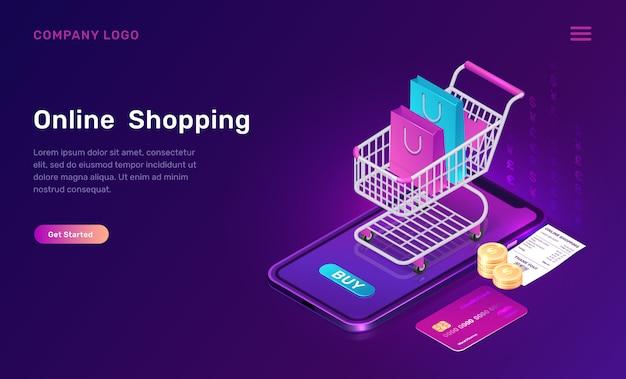 Compras on-line, conceito isométrico para aplicativo móvel