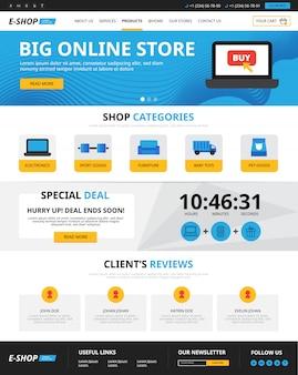 Compras on-line da página da web