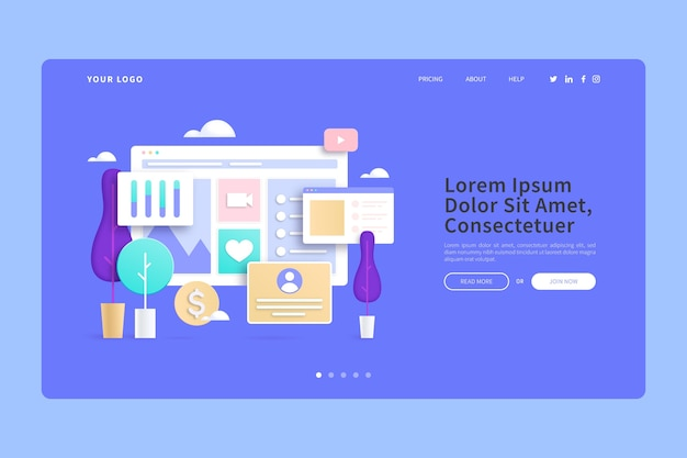 Compras on-line da página inicial de conceitos 3d em casa