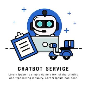 Compras on-line de operador de robô com ordem e serviço de entrega. chatbot