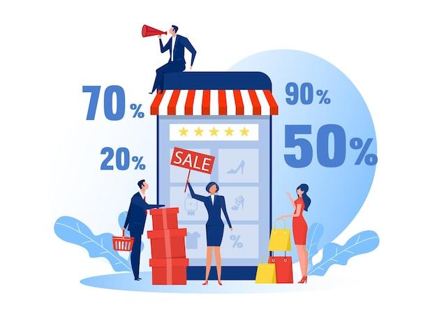 Compras on-line de pessoas. comércio eletrônico no smartphone, compradores de pessoas modernas, comércio eletrônico on-line.