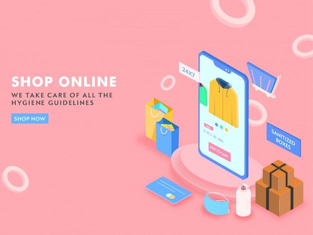 Compras on-line de smartphone 3d com sacos de transporte, caixas higienizadas, máscara de segurança e cartão de pagamento em fundo rosa.