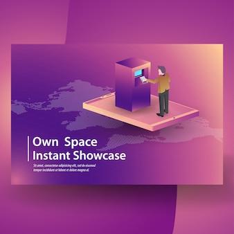 Compras on-line de transações móveis com vários elementos isométricos relacionados ícones, cryptocurrency e blockchain