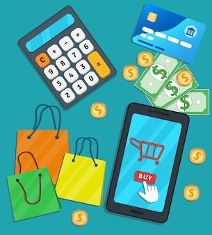 Compras on-line e-commerce app móvel. smartphone plano com ícone de carrinho e comprar botão na tela