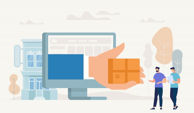 Compras on-line e conceito de entrega. vetor.