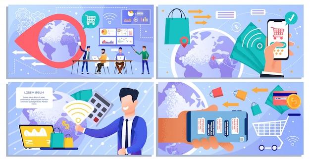 Compras on-line e conjunto de layout de marketing