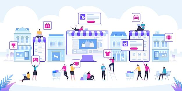 Compras on-line e entrega de compras vendas de comércio eletrônico