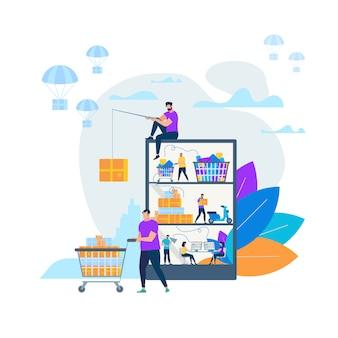 Compras on-line e entrega de ilustração vetorial