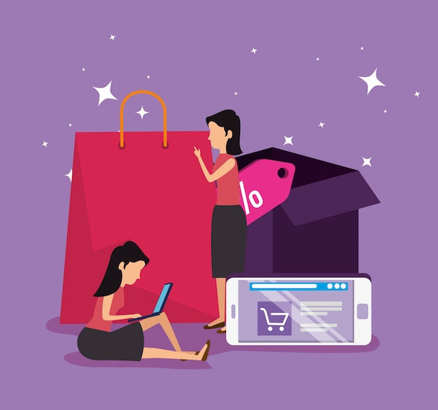 Compras on-line e mulheres com comércio eletrônico para smartphone