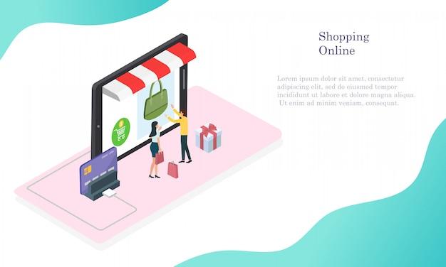 Compras on-line em dinheiro e cartão de crédito para o cliente.