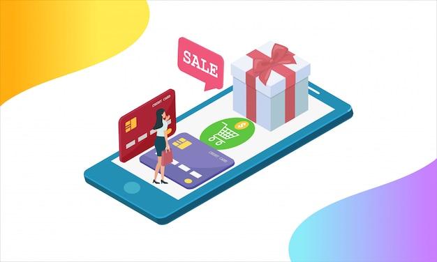 Compras on-line em dinheiro e cartão de crédito