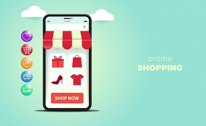 Compras on-line em sites ou aplicativos móveis, com smartphone isométrico.