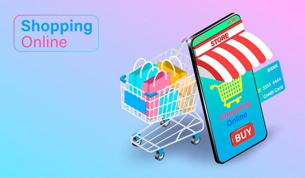 Compras on-line em smartphone com cartão de crédito. carrinho de compras com sacos ao lado. design plano isométrico