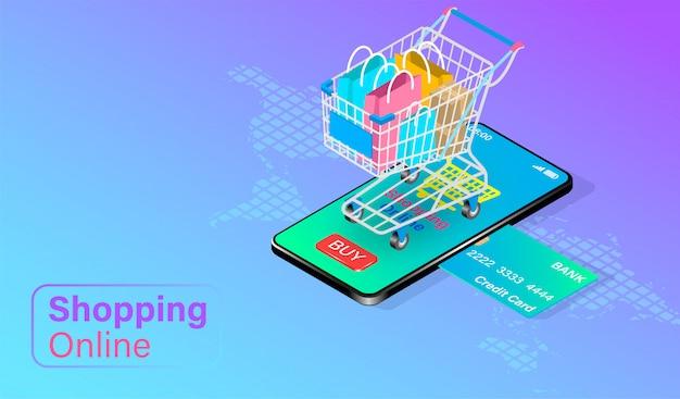 Compras on-line em smartphone com cartão de crédito com carrinho de compras com sacos na parte superior. design plano isométrico