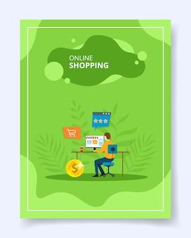 Compras on-line homem loja e-commerce no computador