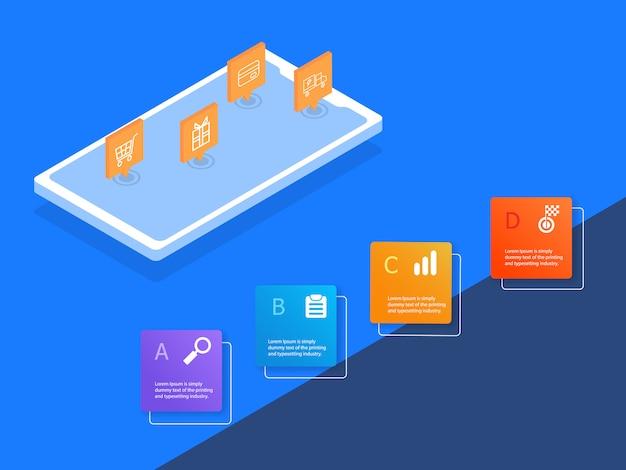 Compras on-line infográficos 4 etapas