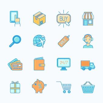 Compras on-line internet varejo e-commerce ícones de linha plana definir ilustração vetorial isolado