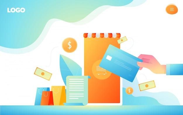 Compras on-line isométrica e conceitos de pagamento on-line. pagamentos do internet, transferência de dinheiro da proteção, ilustração em linha do vetor do banco.