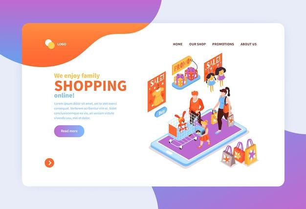 Compras on-line isométricas com modelo de página de destino para crianças