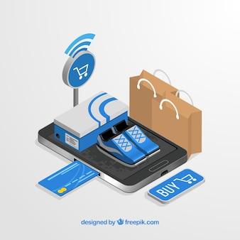 Compras on-line isométricas com smartphone