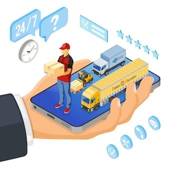 Compras on-line isométricas, entrega, conceito de logística.
