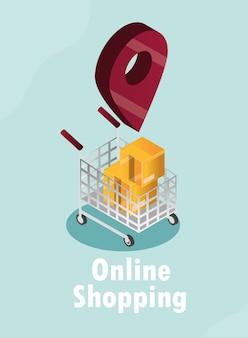 Compras on-line, localização, carrinho de pinos, caixas de papelão, ilustração vetorial isométrica