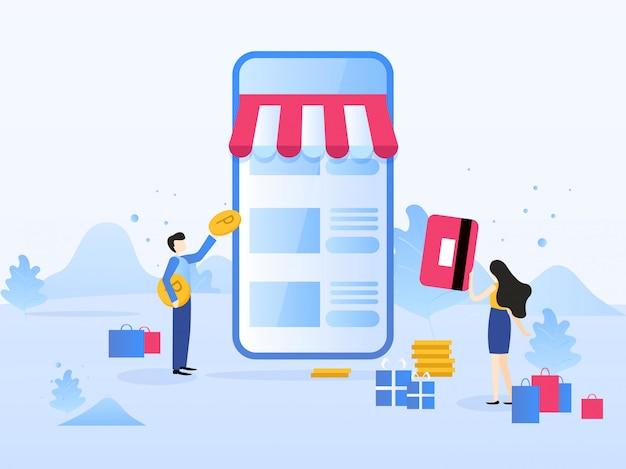 Compras on-line, marketing móvel. conceito para página da web, apresentação, mídia social