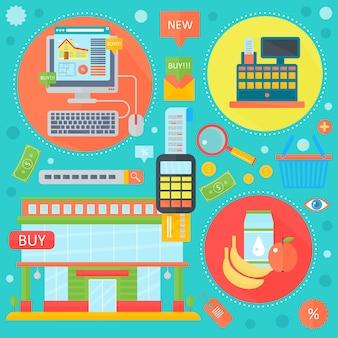 Compras on-line, marketing móvel e marketing digital infográfico no design de círculos