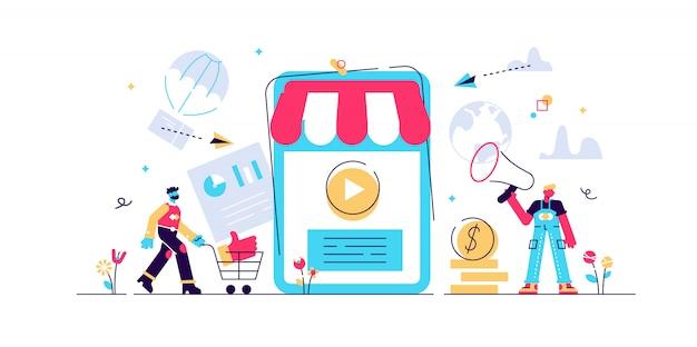 Compras on-line, marketing móvel ilustração do conceito, m-commerce, aplicativos e serviços da web e telefone celular