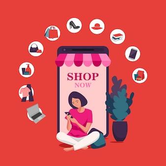 Compras on-line, modelos de aplicativo móvel, design plano de ilustração vetorial conceito