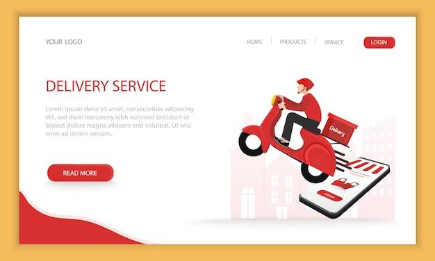 Compras on-line moderno conceito com moto entrega