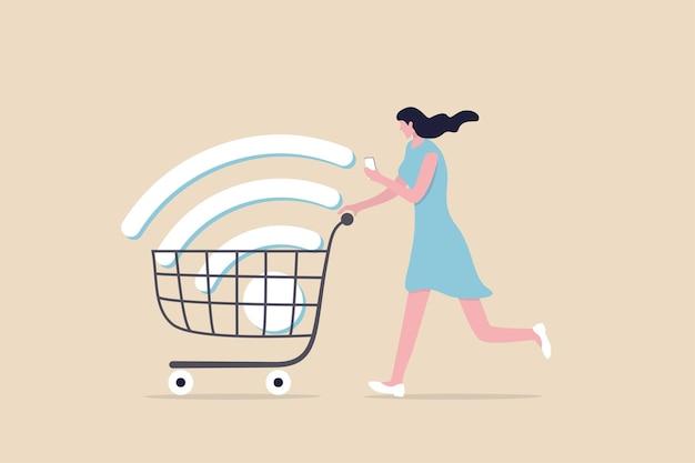 Compras on-line móvel, aplicativo ou site de comércio eletrônico fácil de comprar e conceito de produtos de compra, jovem feliz usando o aplicativo de comércio eletrônico móvel com grande sinal de wi-fi no carrinho de carrinho de compras.