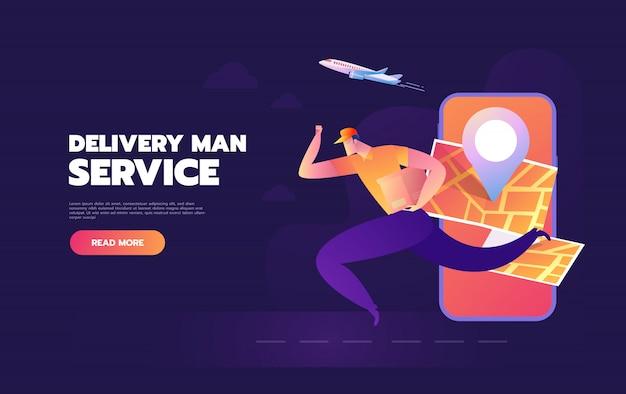 Compras on-line na internet usando smartphone móvel. entrega rápida e entrega homem serviço conceito ilustração vetorial no design de estilo simples.