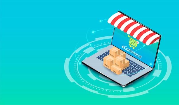Compras on-line no computador portátil com sistema de comércio eletrônico. design plano isométrico