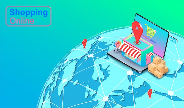 Compras on-line no site ou aplicativo de computador laptop. carrinho de compras com entrega rápida global. design plano isométrico