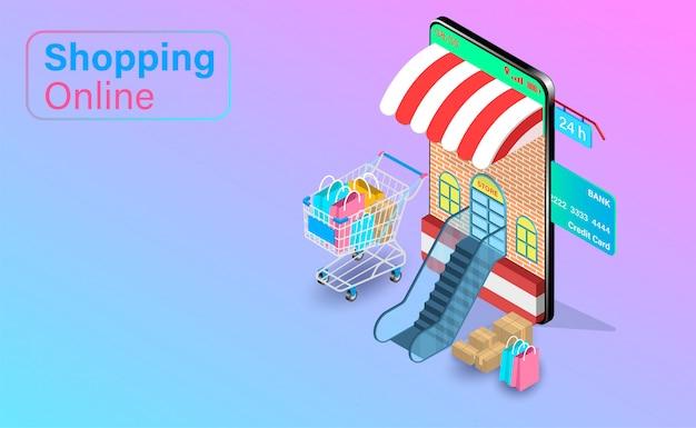 Compras on-line no site ou aplicativo móvel com cartão de crédito. carrinho de compras com entrega rápida. design plano isométrico