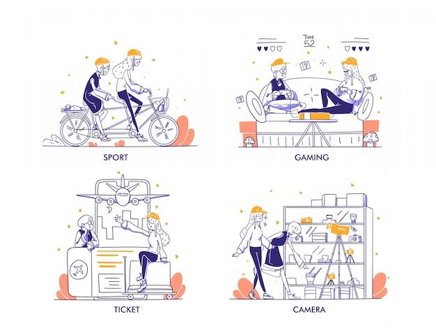 Compras on-line ou conceito de comércio eletrônico em estilo moderno de design desenhado à mão. esporte, jogo, ingresso, viagem, câmera, fotografia categoria de compras. mulher andando de bicicleta, jogando, ilustração do aeroporto
