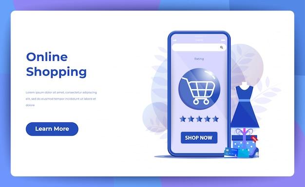 Compras on-line para página do site ou página de destino com classificação por estrelas