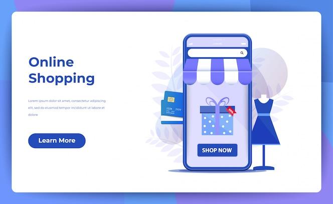 Compras on-line para página do site ou página de destino