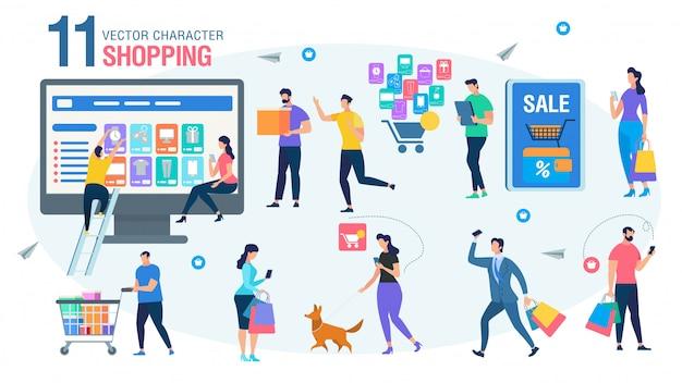 Compras on-line pessoas caracteres plano conjunto