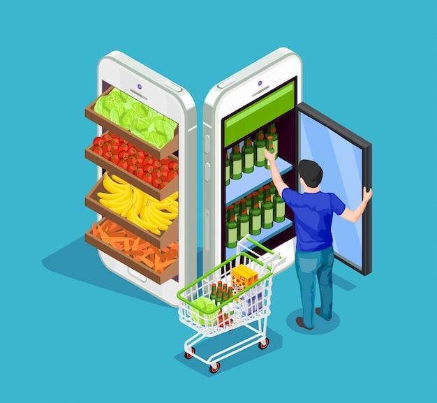 Compras on-line pessoas isométrica