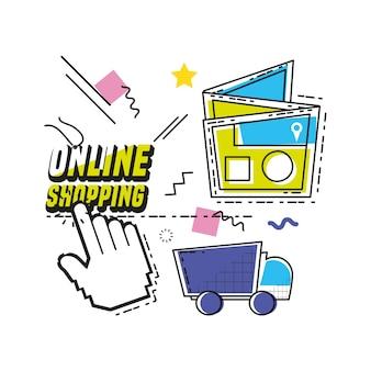 Compras on-line pop art set ícones vector design ilustração