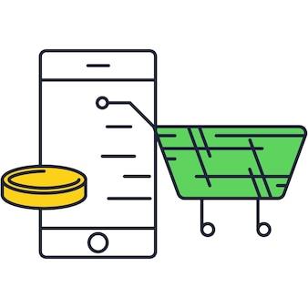 Compras on-line por meio do design de ícone de vetor de smartphone