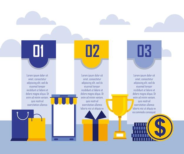 Compras on-line smartphone saco de presente dinheiro infográfico negócio