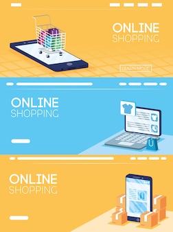 Compras on-line tecnologia em smartphone e laptop