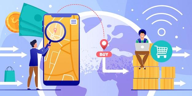 Compras on-line via aplicativo móvel e laptop cartoon