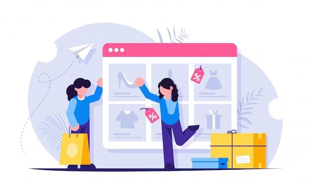Compras online. as meninas fazem compras na loja online. o catálogo de produtos na página do navegador da web. a menina escolhe sapatos novos.